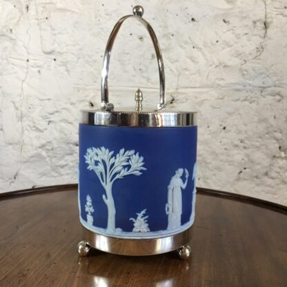 Wedgwood Blue Jasper biscuit barrel with plated mount, c.1880-24202