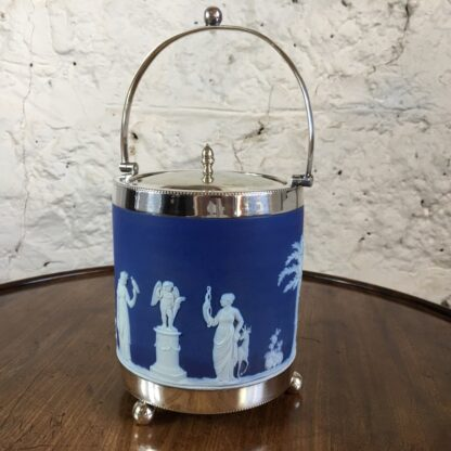 Wedgwood Blue Jasper biscuit barrel with plated mount, c.1880-24204