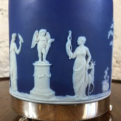 Wedgwood Blue Jasper biscuit barrel with plated mount, c.1880-24203