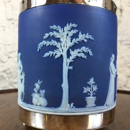 Wedgwood Blue Jasper biscuit barrel with plated mount, c.1880-24207