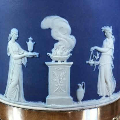 Wedgwood Blue Jasper biscuit barrel with plated mount, c.1880-24205