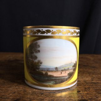 Derby yellow ground coffee can, pat. 531 Landscape by Jockey Hill, c. 1795-0