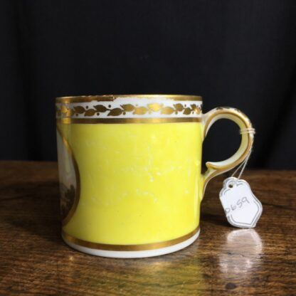 Derby yellow ground coffee can, pat. 531 Landscape by Jockey Hill, c. 1795-24334