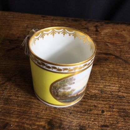 Derby yellow ground coffee can, pat. 531 Landscape by Jockey Hill, c. 1795-24336