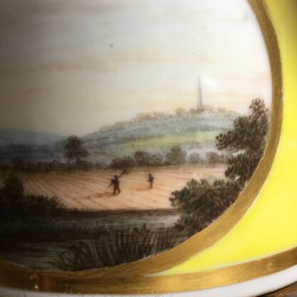 Derby yellow ground coffee can, pat. 531 Landscape by Jockey Hill, c. 1795-24338