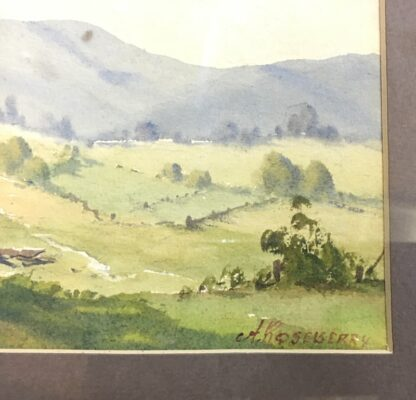 A Roseberry, watercolour, 'Country farm with cows', mid 20th century-24530
