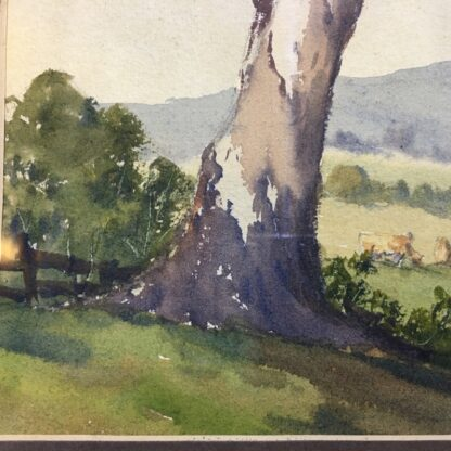 A Roseberry, watercolour, 'Country farm with cows', mid 20th century-24531