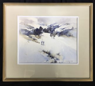 "Clifford Dudley Wood, watercolour, ""Snow Fall"" c. 1965-0"