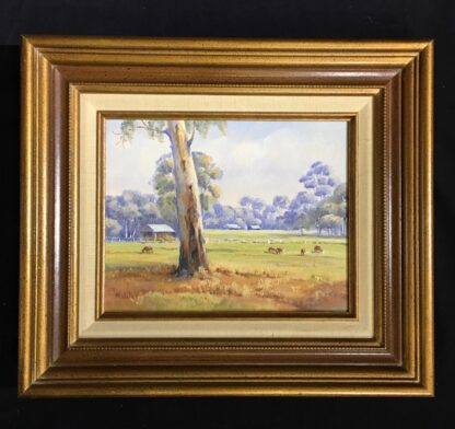 Australian oil on board, 'Peaceful Country', signed M. Willey -0