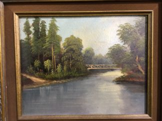 Victorian oil on board, river and bridge, unsigned c. 1890-0