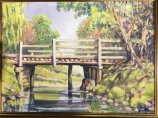"Australian oil on board, ""the old bridge at warrandyte', signed John Forman -0"