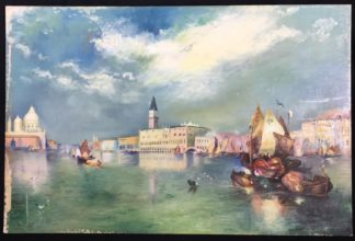 Oil on board, 'View of Venice' after Turner, c. 1900-0
