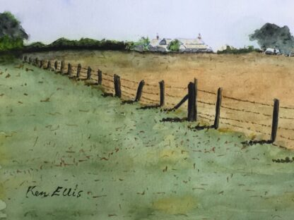 Ken Ellis watercolour, 'Farmhouse on the hill', signed -0