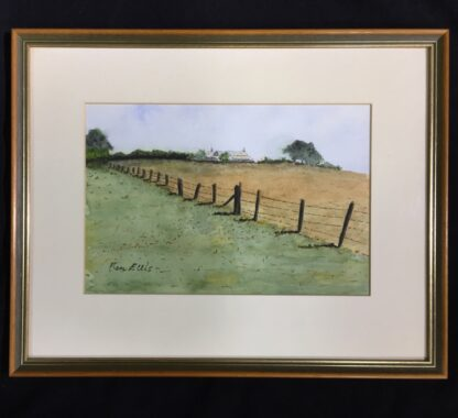 Ken Ellis watercolour, 'Farmhouse on the hill', signed -24524