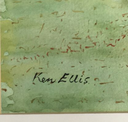 Ken Ellis watercolour, 'Farmhouse on the hill', signed -24523