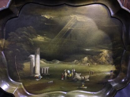 Superb quality paper mache tray with ruins, c.1825 -24545