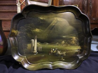 Superb quality paper mache tray with ruins, c.1825 -0