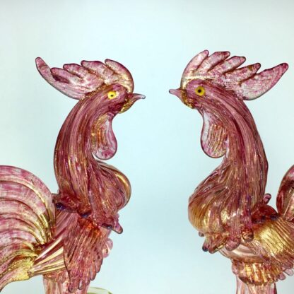 Pair of Murano glass cockerels in pink with gold flecks, Mid 20th century -24927