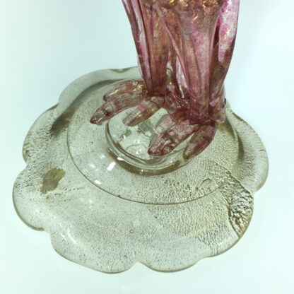 Pair of Murano glass cockerels in pink with gold flecks, Mid 20th century -24925
