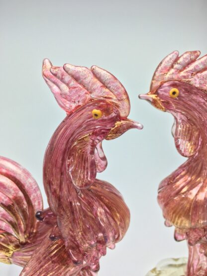 Pair of Murano glass cockerels in pink with gold flecks, Mid 20th century -24928