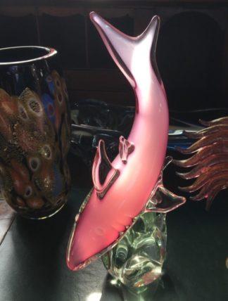 Murano art glass figure of shark in pink, mid 20th century-0