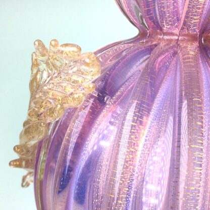 Murano glass lamp in pink with gold specks and applied flowers, mid 20th century-24977