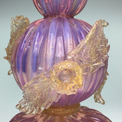 Murano glass lamp in pink with gold specks and applied flowers, mid 20th century-26301