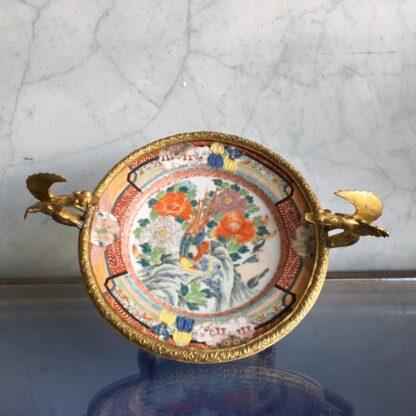 Japanese dish in French ormolou, elephants & Europeans, dragon handles, c. 1880 -24733