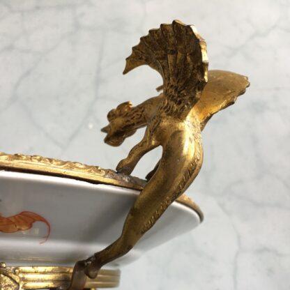 Japanese dish in French ormolou, elephants & Europeans, dragon handles, c. 1880 -24740