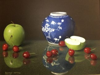 Dennis Ramsay, Oil Tempera, Still Life with Chinese Jar, Cherries & Apples, 1992-0