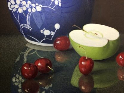 Dennis Ramsay, Oil Tempera, Still Life with Chinese Jar, Cherries & Apples, 1992-24724