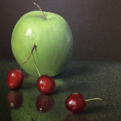 Dennis Ramsay, Oil Tempera, Still Life with Chinese Jar, Cherries & Apples, 1992-24727