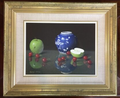 Dennis Ramsay, Oil Tempera, Still Life with Chinese Jar, Cherries & Apples, 1992-24723