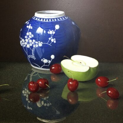Dennis Ramsay, Oil Tempera, Still Life with Chinese Jar, Cherries & Apples, 1992-24730
