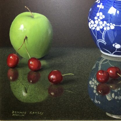 Dennis Ramsay, Oil Tempera, Still Life with Chinese Jar, Cherries & Apples, 1992-24728