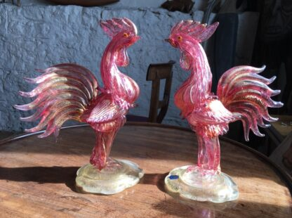 Pair of Murano glass cockerels in pink with gold flecks, Mid 20th century -25009