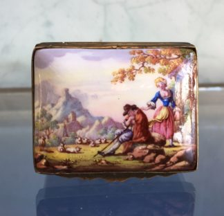 English Enamel box with Shepherd & Shepherdess painted panel, c. 1760-0