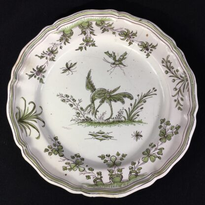 French Faience plate, Chinoiserie bird & bugs, Moustiers, c.1750-0