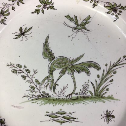 French Faience plate, Chinoiserie bird & bugs, Moustiers, c.1750-26313