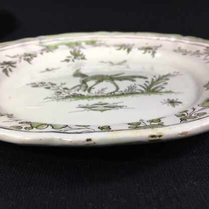 French Faience plate, Chinoiserie bird & bugs, Moustiers, c.1750-26312