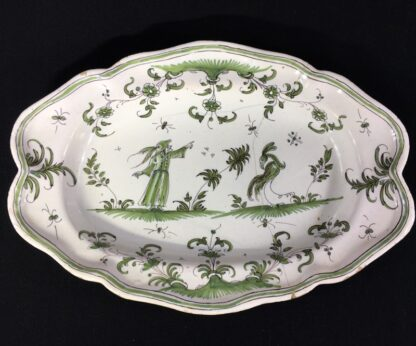 French Faience plate, Chinoiserie bird & man, Moustiers/Marsailles, c.1750-0
