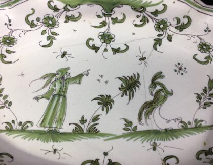 French Faience plate, Chinoiserie bird & man, Moustiers/Marsailles, c.1750-26321