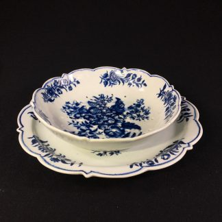 Worcester cress or strawberry dish & stand, pinecone pattern, unusual border c. 1770-0