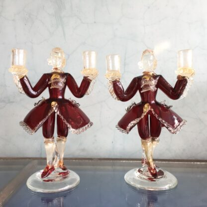 Pair of Murano Glass figural candlesticks, ruby, mid 20th century-0