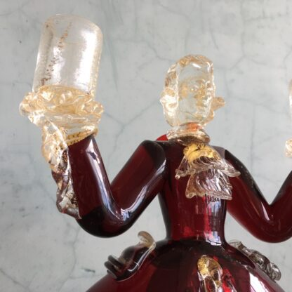 Pair of Murano Glass figural candlesticks, ruby, mid 20th century-25817
