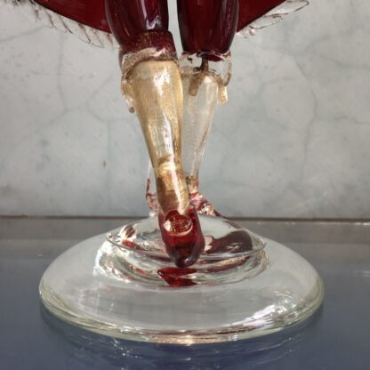 Pair of Murano Glass figural candlesticks, ruby, mid 20th century-25820