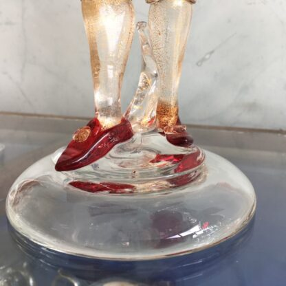 Pair of Murano Glass figural candlesticks, ruby, mid 20th century-25818