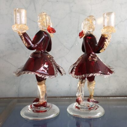 Pair of Murano Glass figural candlesticks, ruby, mid 20th century-26127