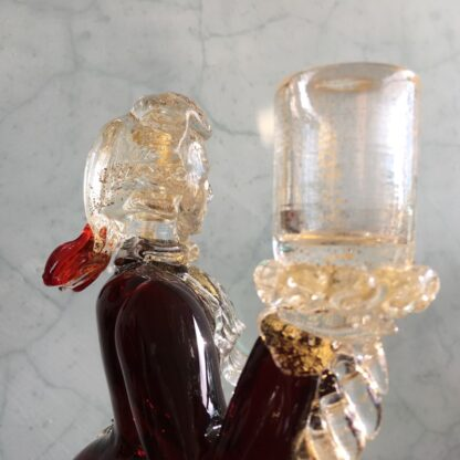 Pair of Murano Glass figural candlesticks, ruby, mid 20th century-26129