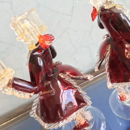 Pair of Murano Glass figural candlesticks, ruby, mid 20th century-26128